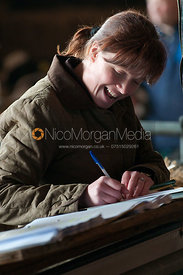 The auctioneer's scribe during a cattle auction