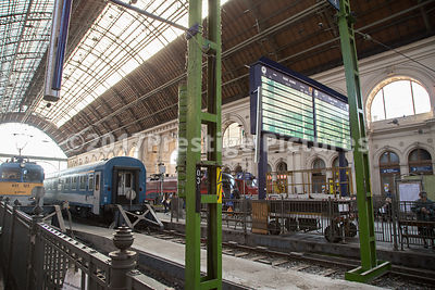 Indicator Board and Trains at Keleti Railway Station, Budapest
