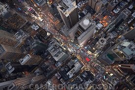 Aerial of Times Square at night