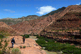 Hiking along River Tumusla valley near La Palca Grande, Nor Cinti, Chuquisaca Department, Bolivia