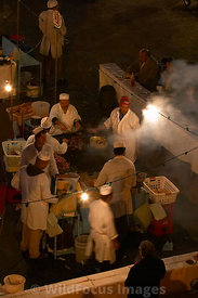 Food stalls in the Djemaa el-Fna, Morocco; Portrait