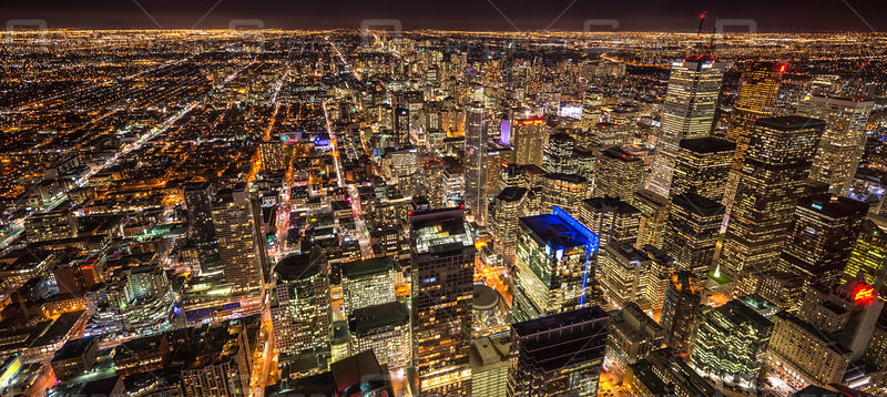 Night Skyline Downtown Toronto Ontario