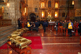 Members of the national guard carry caskets in honour of the members of the Junta Tuitiva to the altar before a mass in San Francisco church to commemorate the uprising of July 16th 1809, La Paz, Bolivia