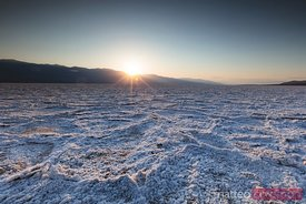 Sunset at Badwater salt basin, Death valley, USA