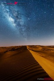 Milky way at night over Wahiba sands desert, Oman