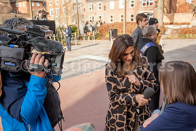 Central ITV Presenter Sameena Ali Khan Interviewing Woman in a Crowd for TV