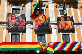 Portraits of former presidents and famous indigenous leaders on presidential palace for Independence Day, Plaza Murillo, La Paz, Bolivia