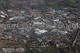Bury high level aerial photograph showing the town centre and the surrounding industrial and retail parks