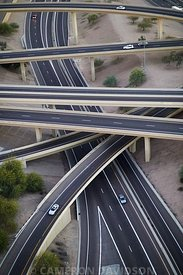 Aerial photograph of a highway fly-over interchange east of Phoenix, Arizona