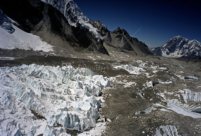 NEPAL Khumbu Glacier -- 16 Apr 2005 -- Aerial image of the ice pinnacles at the top part of the Khumbu Glacier underneath Mount Everest in Khumbu Himalaya in the Everest region of Nepal.