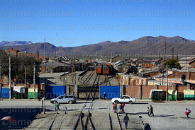 View over railway station and goods yard, Uyuni, Bolivia