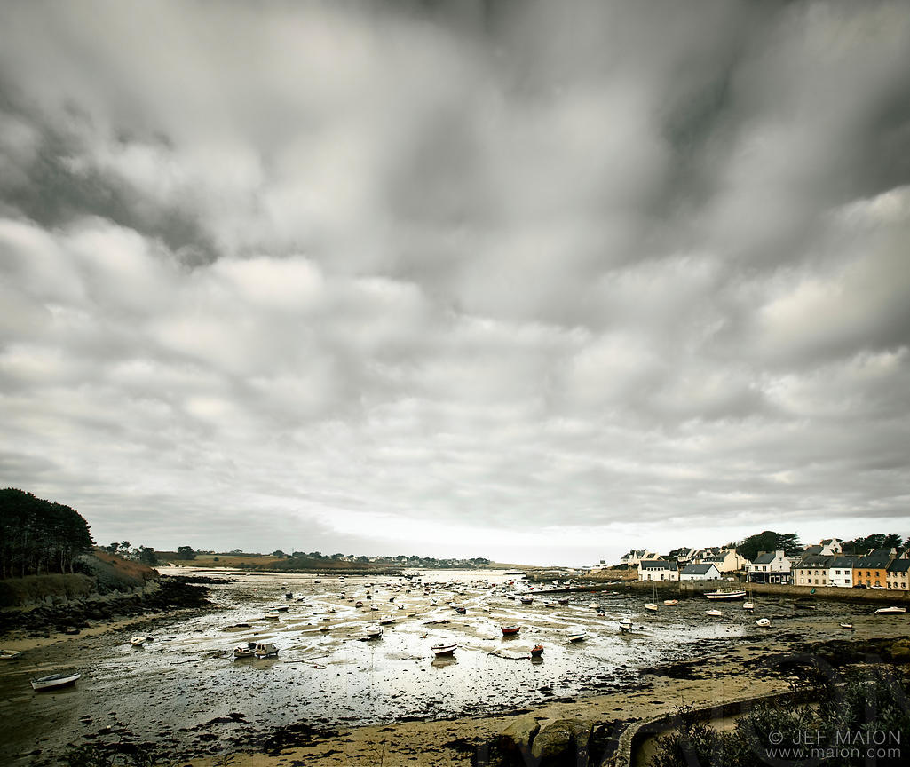 Low tide in village harbour