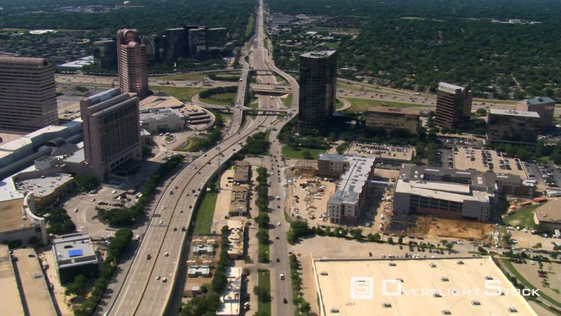 Flight approaching highway interchange in Dallas, Texas