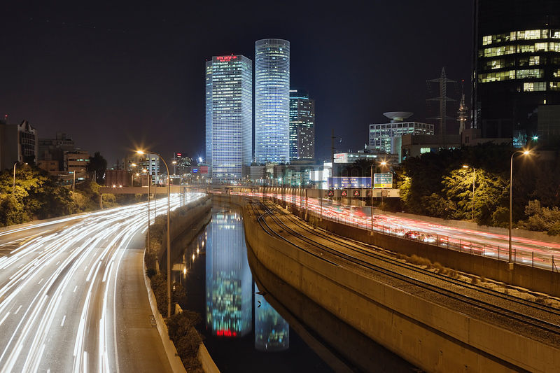 Highway and Azrieli Center at night