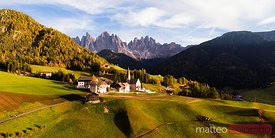 Aerial pano view of village in Funes, Dolomites, Italy