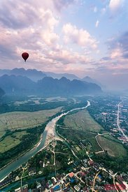 Aerial of landscape from hot air balloon, Vang Vieng, Laos