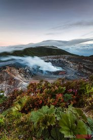 Dawn over Poas volcano crater, Costa Rica