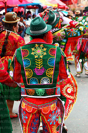 Detail of embroidery on the back of the jacket of a ch'uta from Caquiaviri during parades for the Entierro del Pepino, La Paz, Bolivia