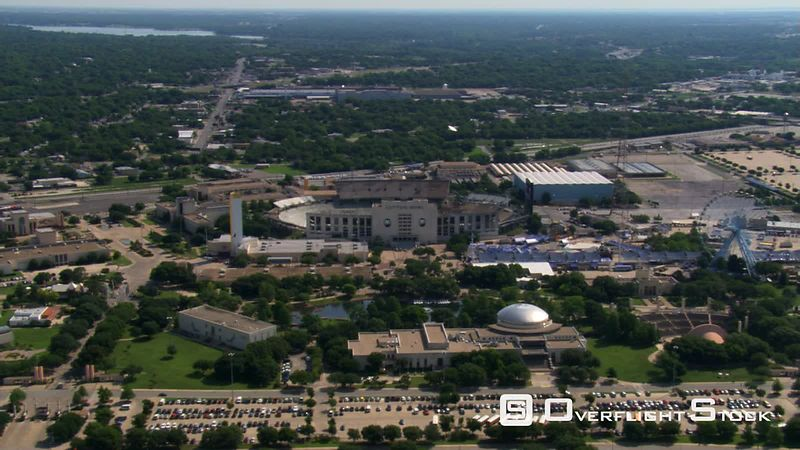 Flight past Cotton Bowl stadium in Dallas, Texas
