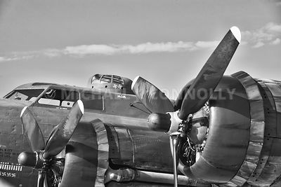 B-17 Engines and Cockpit (B&W)