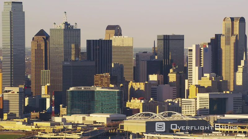 Dallas, Texas Zoom out from city buildings
