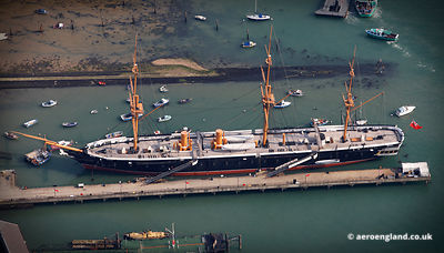 aerial photograph of HMS Warrior 1860  in Portsmouth Harbour Hampshire England UK