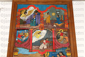 Painting of biblical scenes describing birth of Jesus inside Jesuit Mission church, San Ignacio de Moxos, Beni, Bolivia