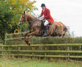 Ashley Bealby jumping a hedge near Wilson's - The Cottesmore at Langham.