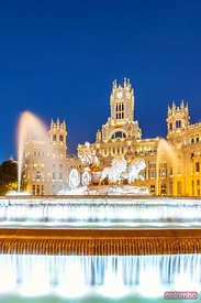 Fountain in Cibeles square at night, Madrid, Spain