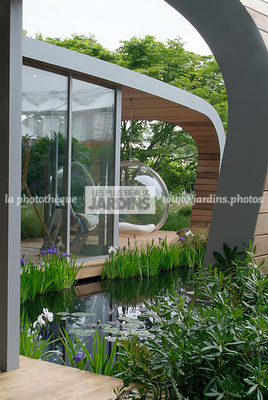 Aquatic garden, Chair, Contemporary garden, Garden furniture, Pool, Resting area, Digital, Summer, Veranda