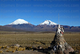 Mountaineering monument and Payachatas volcanos, Sajama National Park, Bolivia