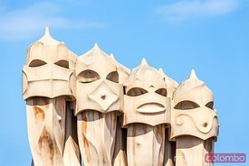 Rooftop chimneys of Casa Mila by Gaudi, Barcelona, Spain