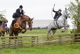 jumping a hunt jump at Thorpe Satchville - Quorn Hunt Opening Meet 2016