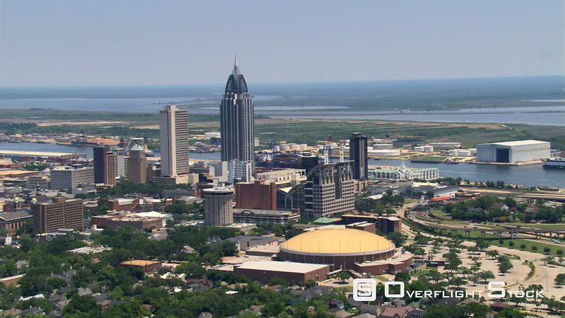 Flight past downtown Mobile, Alabama.