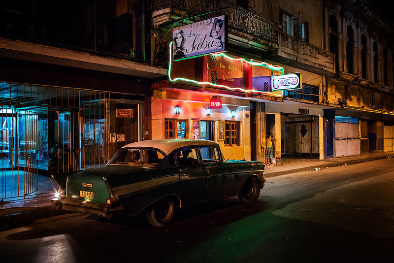 Havana Street Scene at Night