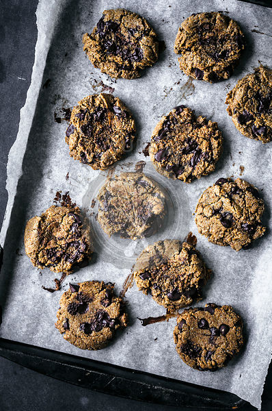 Almond rye chocolate chip cookies
