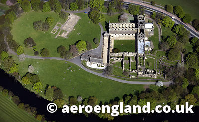 aerial photograph of  Kirkstall Abbey  a ruined Cistercian monastery in   Leeds Yorkshire England UK