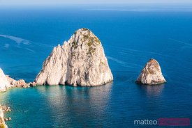 Cliffs and blue sea in the island of Zakynthos, Greece