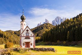 St. Johann church in autumn Villnoess Dolomites Italy