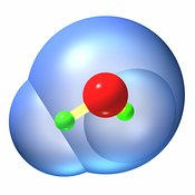 Water molecule ball and stick 1w