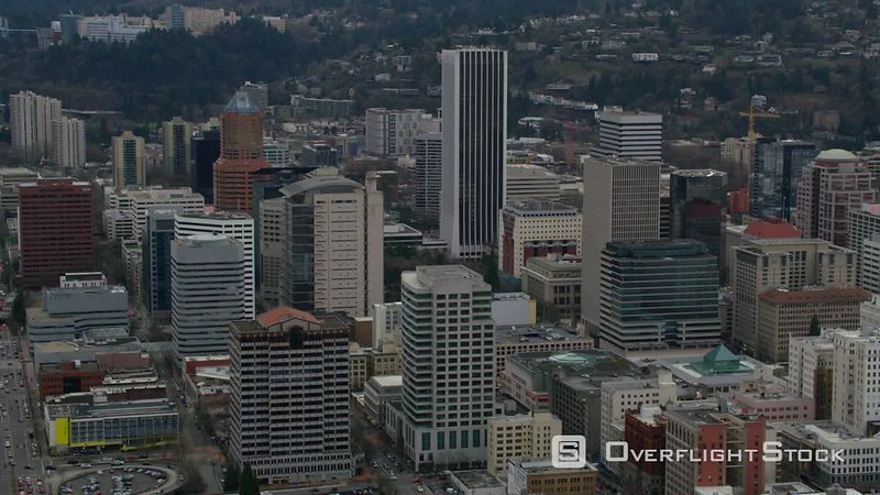 Aerial view of downtown Portland, Oregon buildings
