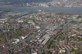 Birkenhead aerial photograph of Birkenhead town centre looking towards Liverpool and the river Mersey