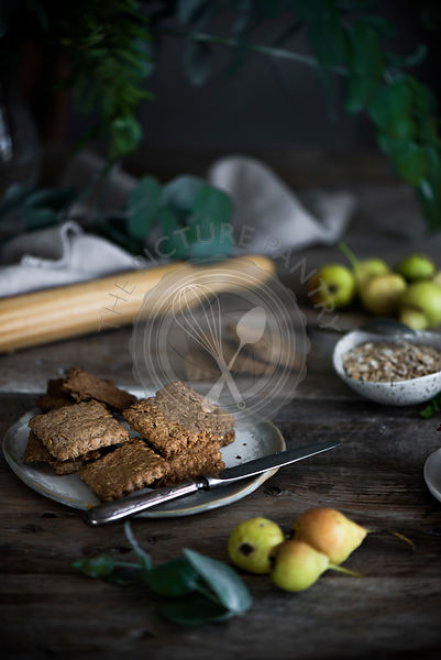 Homemade digestive biscuits on a vintage wooden table