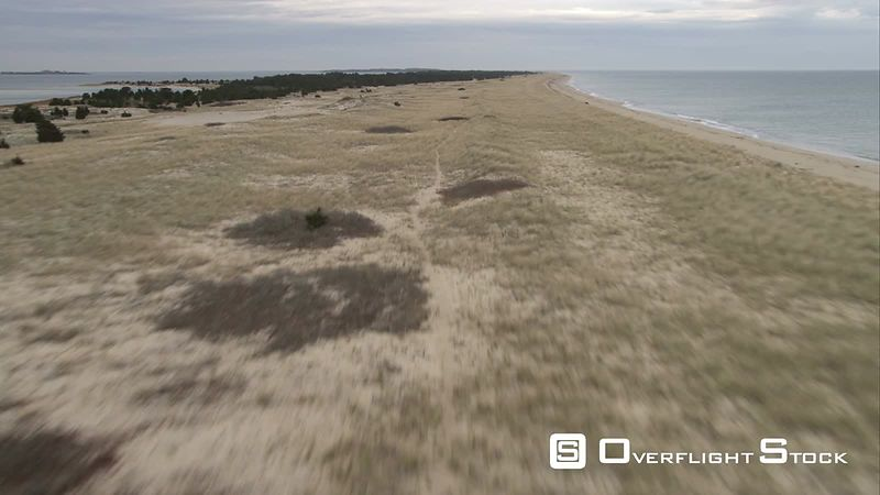 Over Grassy Dunes, Approaching Cape Poge Bay, Massachusetts. Shot in November