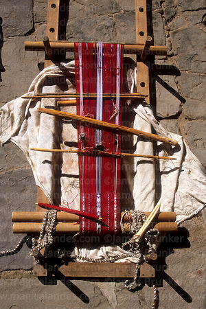 Detail of typical loom used by weavers on Taquile Island, Peru