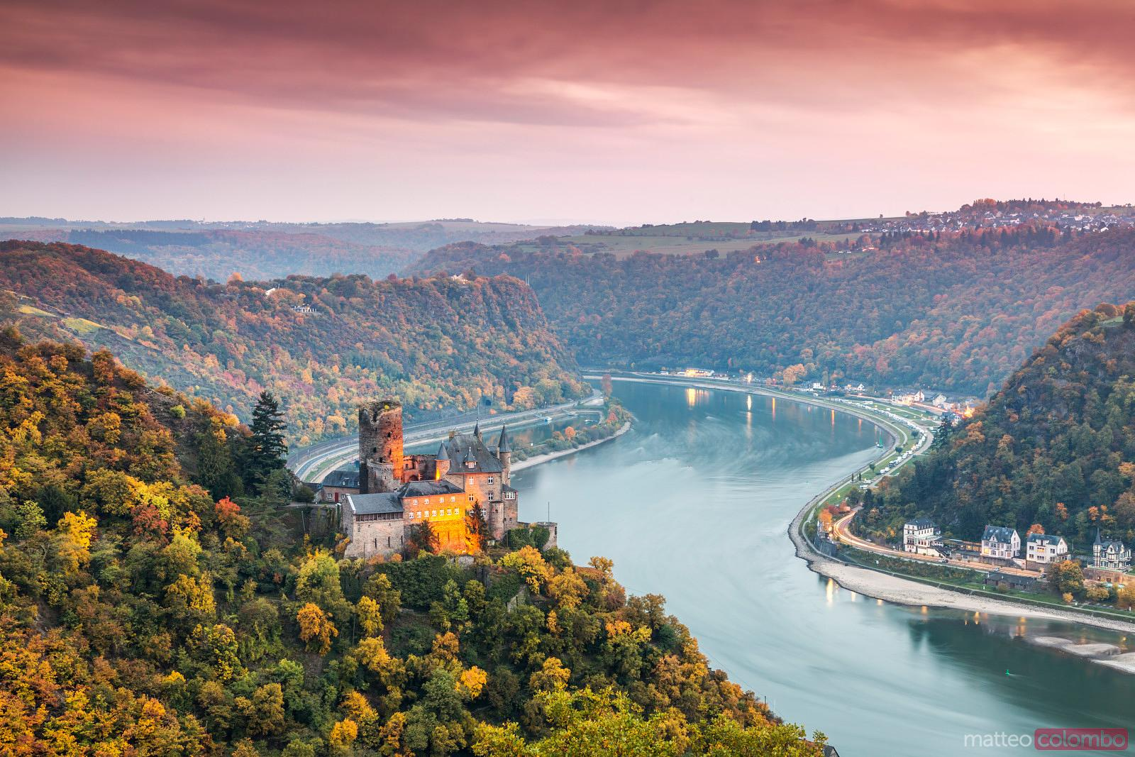 Burg Katz castle and romantic Rhine in autumn at sunset, Germany