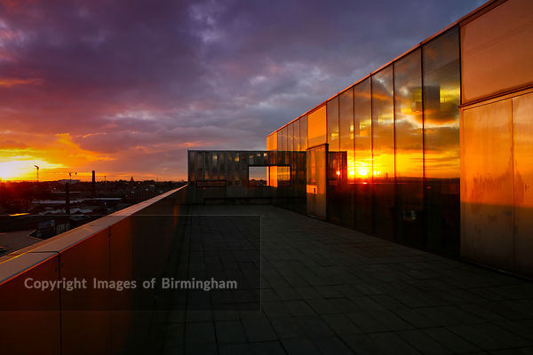 Walsall Art Gallery at sunset.