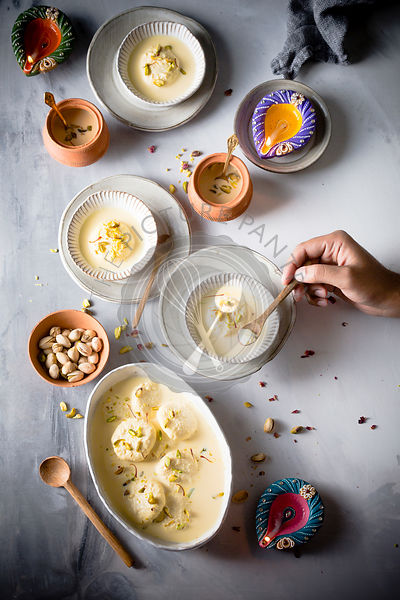 Ras malai, an Indian sweet delicacy, having a rich cheesecake texture