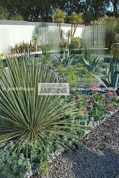 la phototh que les plus beaux jardins jardin sec style contemporain succulente gravillon. Black Bedroom Furniture Sets. Home Design Ideas