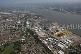 Birkenhead aerial photograph of the assembly area and workshop for the construction of  Wind Turbines at Cammell Laird Shipyards